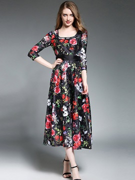 Round Neck Floral Imprint Long Sleeve Maxi Dress