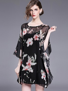 Flare Sleeve Floral Imprint Short Day Dress