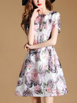 Chic Floral Imprint Short Sleeve Women's Skater Dress