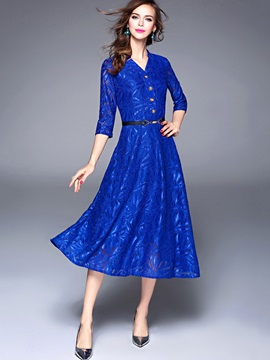 Royal Blue Long Sleeve Lace Maxi Dress