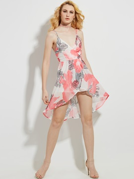 Flower Print Backless Asymmetric Women's Day Dress
