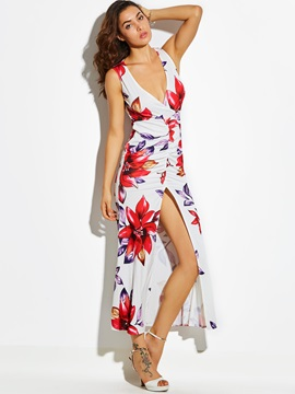 Floral Imprint V-Neck Sleeveless Women's Maxi Dress