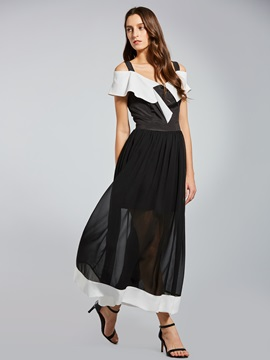 Off Shoulder Short Sleeve Women's Maxi Dress