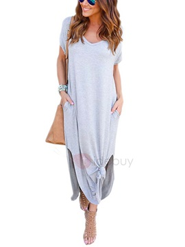 Short Sleeves Casual Fit Split Lateral Women's Maxi Dress