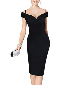 Spaghetti Strap V-Neck Women's Bodycon Dress
