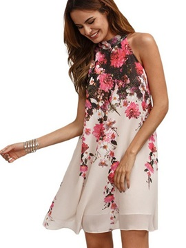 Sleeveless Floral Imprint Women's Short Day Dress