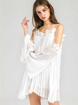 White Open Shoulder Sleeve Short Day Dress