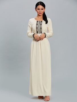 Elegant Lace Patchwork Long Sleeve Women's Maxi Dress