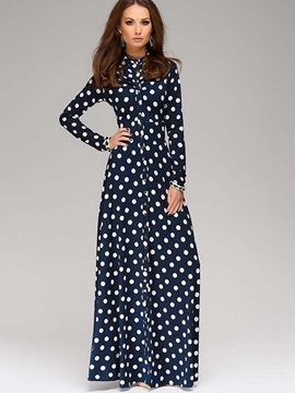 Polka Dots Long Sleeve Maxi Dress