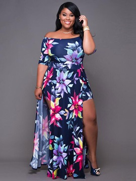 Asym Floral Imprint Boat Neck Women's Maxi Dress