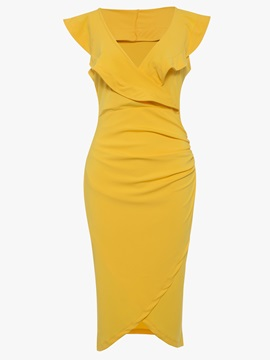 Asym Solid Color Sleeveless Women's Bodycon Dress