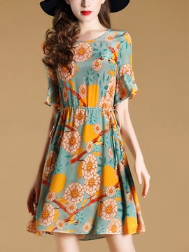 Floral Imprint Short Sleeve Short Day Dress