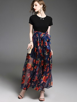 Chic Short Sleeve Floral Imprint Women's Maxi Dress