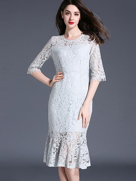 Chic Round Neck Half Sleeve Lace Dress