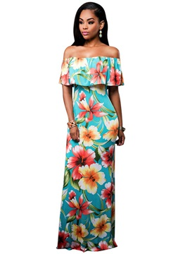 Floral Imprint Boat Neck Women's Maxi Dress