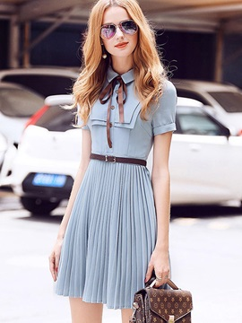 Chic Solid Color Short Sleeve Short Day Dress