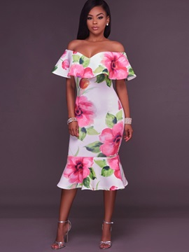 Chic Floral Imprint Boat Neck Bodycon Dress