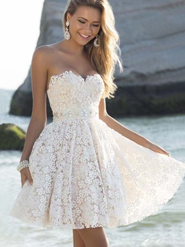 White Strapless Sleeveless Skater Dress