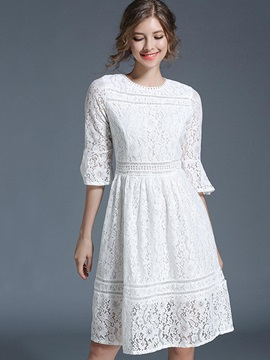 White Round Neck Women's Lace Dress
