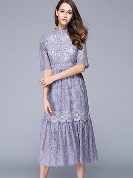 Fashion Round Neck Short Sleeve Women's Lace Dress