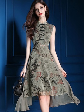 Floral Imprint Sleeveless Chiffon Skater Dress