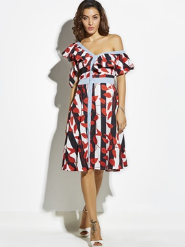 Color Block Stripe Plant Print Women's A-Line Dress