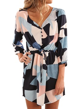 3/4 Sleeves Print Lace-up Women's Day Dress