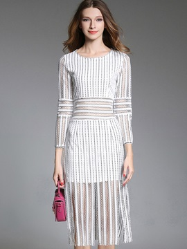White Round Neck Long Sleeve Long Day Dress