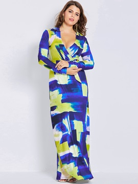 Floral Imprint Plus Size Women's Maxi Dress