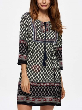 3/4 Sleeves Print Casual Fit Women's Dress