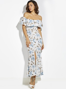 Falbala Patchwork Flower Print Women's Maxi Dress