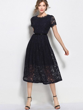 Black Short Sleeve Long Day Dress