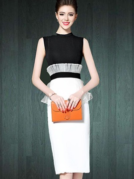 Color Block Sleeveless Knee Length Day Dress
