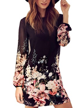 Floral Long Sleeves Women's Day Dress