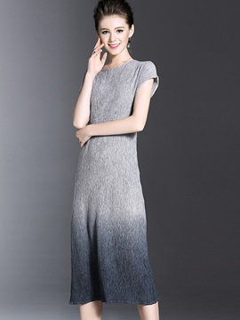 Round Neck Short Sleeve Long Day Dress