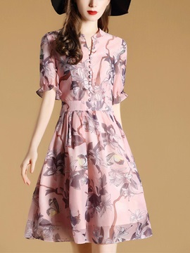 Floral Imprint Short Sleeve Chiffon Women's Skater Dress