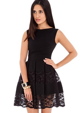 Simple Black Sleeveless Round Neck Skater Dress