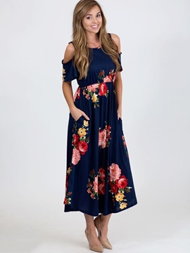 Floral Imprint Open Shoulder Sleeve Maxi Dress