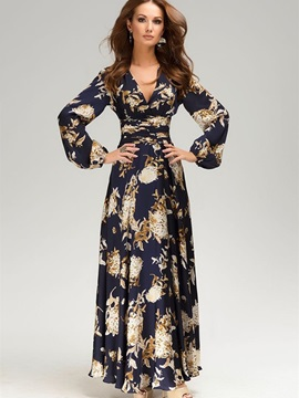Chic Floral Imprint Long Sleeve Women's Maxi Dress