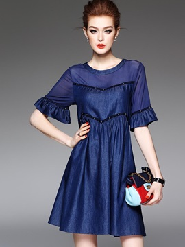 Solid Color Round Neck Women's Short Day Dress