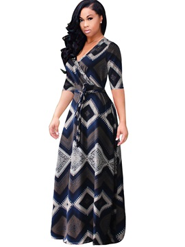 Short Sleeve V Neck Women's Maxi Dress
