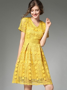 Yellow Short Sleeve Women's Lace Dress