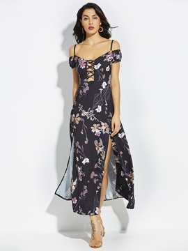 Spaghetti Strap Flower Print Backless Women's Maxi Dress