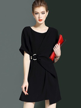 Pure Color Short Sleeve Women's Short Day Dress