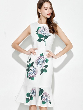 Floral Imprint Sleeveless Knee Length Day Dress