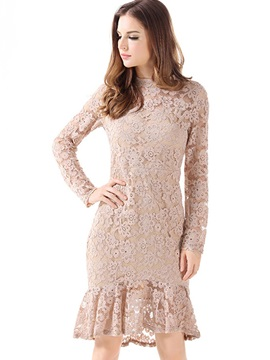 Hot Solid Color Long Sleeve Lace Dress
