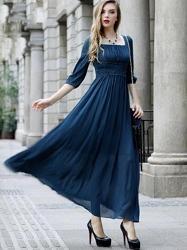 Solid Color Long Sleeve Women's  Dress
