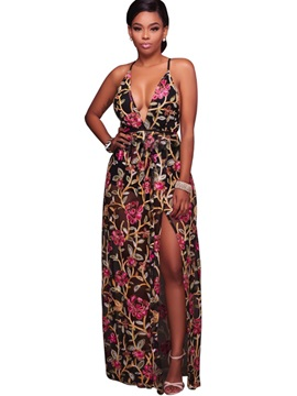 Nice Spaghetti Strap Sleeveless Women's Maxi Dress