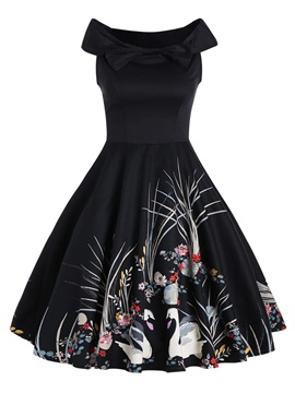 Round Neck Sleeveless Floral Imprint Women's Skater Dress