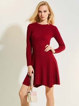 Solid Color Plain Long Sleeve Women's Sweater Dress
